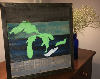 Great Lakes Wall Decor - Pallet Wood Art - Pallet Art - Cleveland - Lake Erie - The Greatest