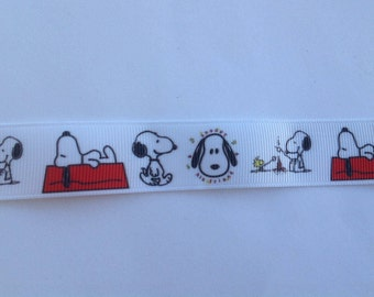 """7/8""""  Beagle - Snoopy Camping  inspired Grosgrain Ribbon  -  By The Yard"""