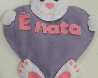 Handmade felted wool stitchable Bunny with heart-custom