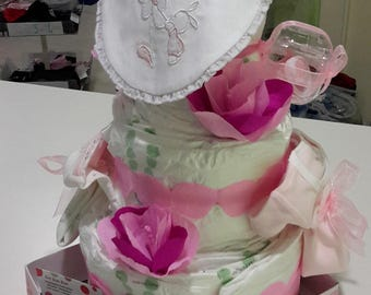 Baby diaper Cake classic form to plans-with rose-body-baby bottle-baby bib and pacifier