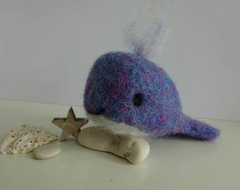 Blue needle felted whale