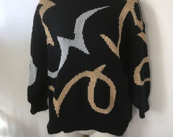 Vintage 80s Black Metallic Pullover Sweater by Michael Carrie