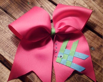 Tropical Cheer Bow with a ribbon sculpture angel fish