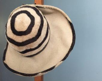 Vintage, 1960s, Fun Felt Wide Brim Hat