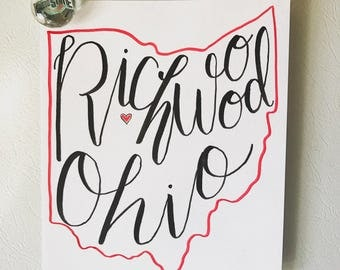 Hometown and State Hand Lettering