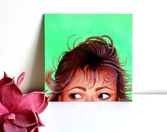 Portrait of 'Cheeky' small, ORIGINAL, acrylic on cardboard, free shipping, portrait, face