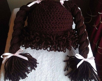 Cabbage Patch Kid inspired wig/Baby Photo prop/Yarn hair/doll wig/Nostalgic costume/dressup wig/pigtails/ponytail wig/yarn braids/loops/bows