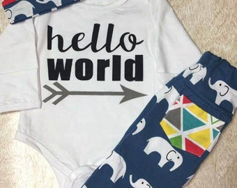 Hello world outfit for infant boys