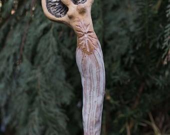 "hand sculpted ceramic figurine, Garden sculpture, Celtic mythology, ""Sun woman"""