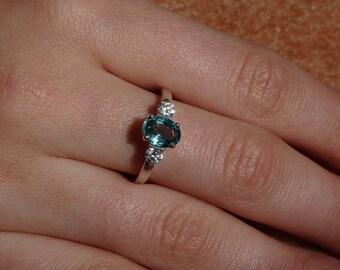 Aqua Blue Apatite Sterling Silver Ring