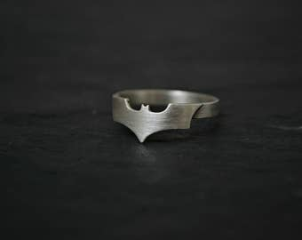 Batman Ring - 925 Sterling Silver Superhero Ring Batman Men Jewelry - Geeky Nerdy Batman Ring - Comic Geek gift