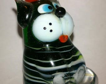 Glass figurine: Cat in the cap