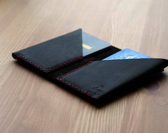 Two-Fold Folio Leather Wallet (Black with Red)