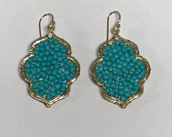 Leaf-shaped Turquoise Earrings