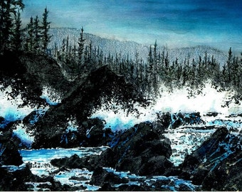"""Sunset Beach, Oregon Charcoal Watercolor Signed Print 12""""X16"""" Gifts under 60 Ocean Blue"""