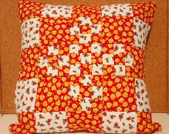 Quilted/ Shabby Chic/ Pillow Case/ Cushion Cover/ Decorative Pillow/ Red and White