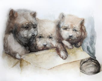 Puppies Original watercolor, animal original watercolor dogs, dog art, Home decoration, Puppies animal watercolor, Gift Pet portraits