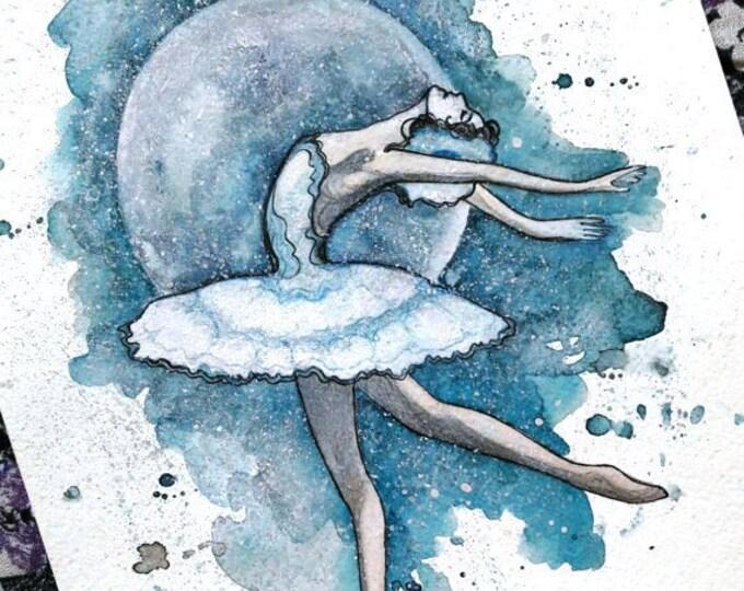 Blue Ballerina ORIGINAL painting by Tatiana Boiko, wall art, wall hanging, watercolor art, wall decor, dream art, gift, ballerina art, moon