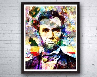 President Abe Lincoln, Abraham Lincoln, President Art, US History, USA Art, Historical Art, Presidential Painting, Honest Abe, US Presidents