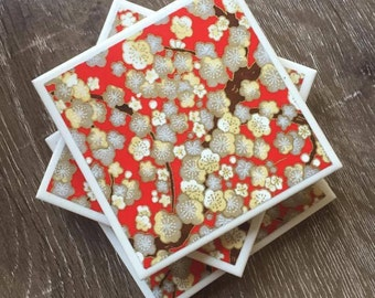 Decorative ceramic tile coasters - Cherry blossom