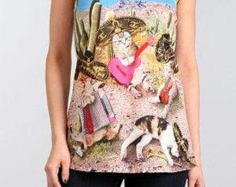 Mexican Cats printed Graphic Singlet Tank top