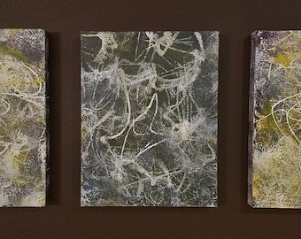Fireflies Triptych - acrylic on canvas, abstract art
