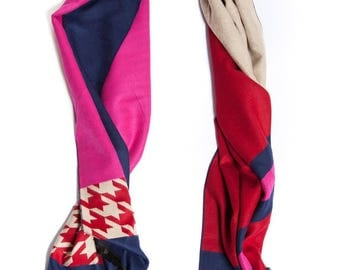 Cashmere Scarf Printed Design Double Sided Reversible Stripes and Checkers Print
