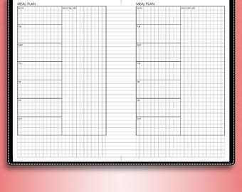Menu planner, meal plan, #E-M (printable inserts, mini happy planner inserts, b6 inserts, b6 travelers notebook)