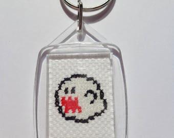 NES Super Mario Bros Boo Retro Cross Stitch Handmade Keyring