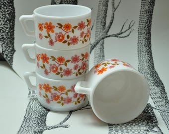 Set of 4 60's coffee cups