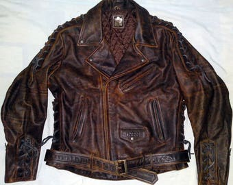 IXS - Vintage 80's Motorcycle Bikers Choppers Leather Jacket - size 56