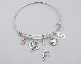 Love gymnastics charm bracelet with cut out initial | gymnast bracelet | gymnastics lover bracelet | gymnastics jewelry | gymnast gift