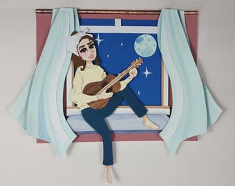 Breakfast at Tiffany's Audrey Hepburn Cut Paper Illustration Portrait - Print