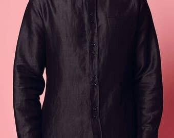 Black short collar shirt