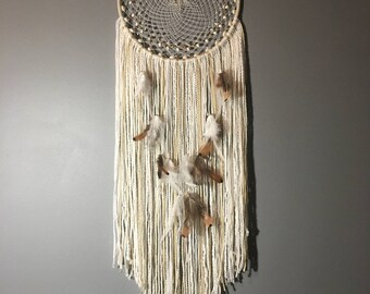 Large Handmade White and Cream Dream Catcher Wall Hanging Decoration