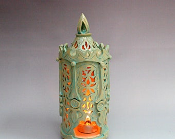 Ceramic lantern. Handmade lighting. Candle. Ceramic candle holder