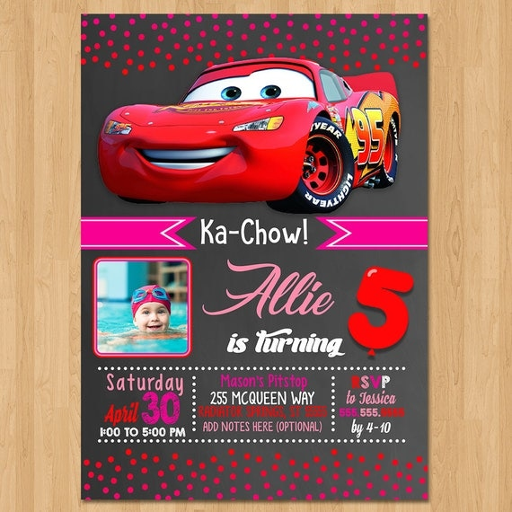 Disney Cars Invite - Chalkboard Red and Pink - Cars Birthday Party Invite - Cars Party Favors - Photo Invite - Lightning Mcqueen - Girl Cars