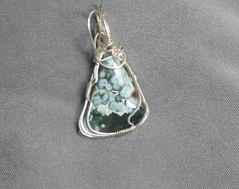 Ocean Jasper Sterling Silver Wire Wrapped Cabochon