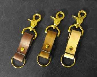 Brass Trigger Snap Key Fob with Edge Kote