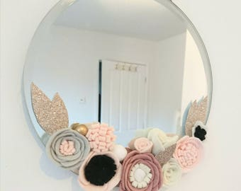 Baby Shower, Floral mirror, Decor nursery, Wedding Floral Arrangement, Felt Flower, MotherDay Gift, Baby Shower Gift