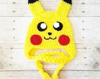Crochet Pokemon Pikachu Hat Beanie Newborn Infant Baby Toddler Child Adult Photography Photo Prop Handmade Baby Shower Gift