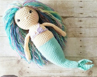Crochet Mermaid Doll Stuffed Toy Newborn Baby Infant Toddler Nursery Decor Handmade Baby Shower Gift Photography Photo Prop