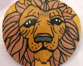 Lion PAINTED SAND DOLLAR Art