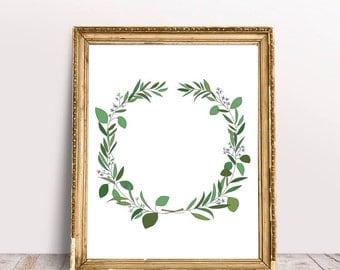 Eucalyptus Wreath Art Print - Instant Download