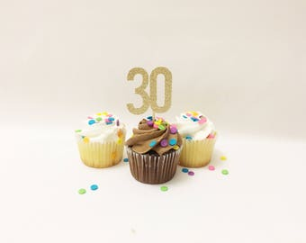 30th birthday Cupcake Topper 12ct thirtieth Birthday Cupcake Toppers Gold Giltter Topper Birthday Party dirty 30 decoration