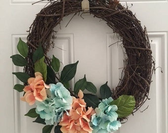 Spring Wreath, Flower wreath, Front door wreath, Summer wreath