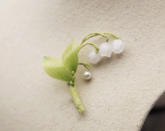 Happiness Botany Jewellery Handmade Bell-shaped Stem of Lily of the Valley Flowers Brooch Lapel Pin