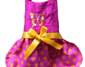 Little Gypsy silk dress creased and cotton Ribbon Satin embroidery Butterfly
