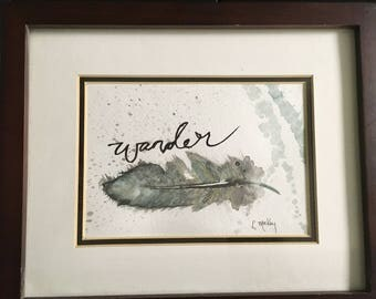 Original Watercolor Wander Feather Painting 5x7