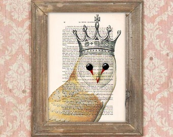 Owl print, clever owl, owl poster, steampunk art, owl with crown, anniversary print, human animal art
